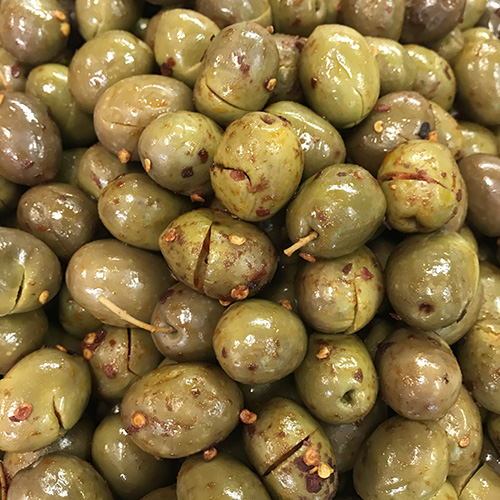 Green Cracked Pepper Olives
